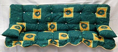 Polsterauflage, Sonnenblumen grün Hollywoodschaukel, Auflage, Hollywood, Sitzauflage, Gartenschaukelauflage