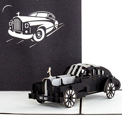 """3D Pop-Up Karte """"Rolls Royce"""" - edle Autokarte, Klappkarte schwarz, silber, weiß - Karte Führerschein, Gutschein Auto"""