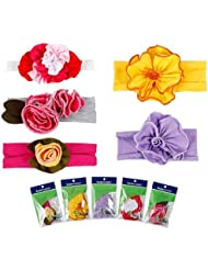 Bundle Monster 5pc Colorful Baby Girl Cotton Pretty Flower Hair Headband Mix Lot