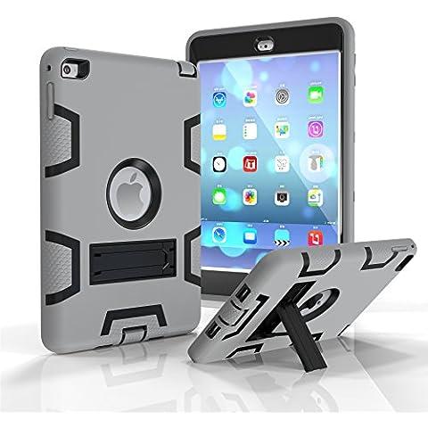 Ddj iPad mini4Custodia, Supporto Antiurto Survivor Extreme Esercito Heavy Duty posteriore protettiva robusto Dual Layer Paraurti sporco, neve, sabbia prova PC + TPU Cover per Apple iPad Mini4 Gray Black