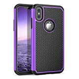 Iphone X Case, Pacfic Asiana [Sport Series] Slim Hybrid TPU Silicone Bumper Plastic Hard Back Anti-Slip Shockproof Scratch-Resistant Rugged Protective Cover Shell for Iphone 10 AT&T [Purple]