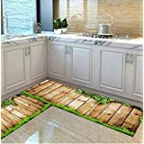 Homtoyz Washable Ultra Thin Kitchen Floor Mats Runner, Anti Skid Latex (Rubber) Backing, Set of 2, (17x52 & 15x23 Inches) Mul