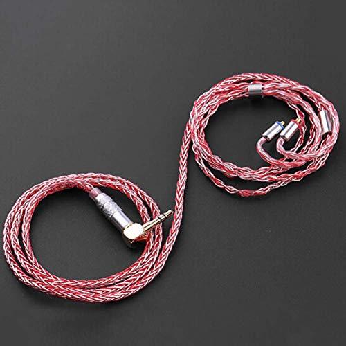 Handgefertigte Einzel - (SparY Ohrhörer Kabel 1,2 M 8 Core für DIY Versilbert und Kupfer 3.5mm L Ersatz Einzel Kristall Handgefertigt Upgrade - Rot, Free Size)