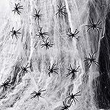 JIAHG Spinnennetz, dehnbar, Spinnennetz, Spinnennetz, Spinnennetz, mit 30 künstlichen Spinnen,...