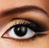 1 Paar farbige Crazy Fun Kontaktlinsen zu Karneval Halloween Zombie Schwarz mit Kontaktlinsenbehälter