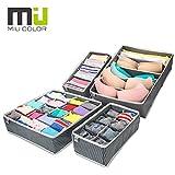 MIU COLOR® Aufbewahrungsboxen für Büstenhalter, Schublade Organizer, Schrank Organizer, Bra Unterwäsche 4er Set (Grau)