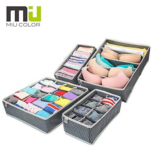 MIU COLOR® Aufbewahrungsboxen für Büstenhalter, Schublade Organizer, Schrank Organizer, Bra Unterwäsche 4er Set (Grau) Test