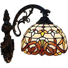 FABAKIRA Aplique Tiffany Lamp Vintage Mini Lámpara de Pared Iluminación para Interior y Exterior Marrón