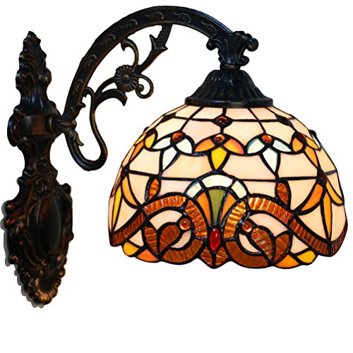 Odziezet Aplique Tiffany Lamp Vintage Mini Lámpara de Pared Iluminación para Interior y Exterior Marrón...