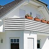 TW24 Balkonbespannung - Windschutz - Balkonverkleidung - Balkonsichtschutz groß 600x90cm mit Farbauswahl (Grau/Weiß)