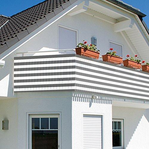 Balkonbespannung - Windschutz - Balkonverkleidung - Balkonsichtschutz groß 600x90cm mit Farbauswahl (grau/weiß)