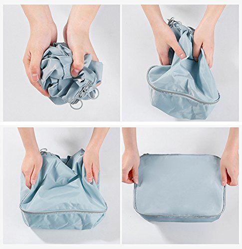 Belsmi Reise Kleidertaschen Set 6-teilig Reisetasche in Koffer Reisegepäck Organizer Kompression Taschen Kofferorganizer Mit Schuhbeutel (Blau) Blau Blume