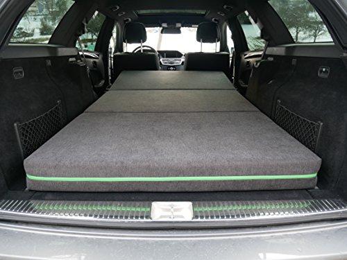 NESCHD Auto Matratze Klappmatratze mit hochwertigem Kaltschaum inkl. Tragetasche | Passend für viele Kombis, SUVs und Vans | 180 x 100 x 12 cm