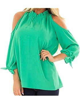 Toamen SeñOras De Las Mujeres Con Volantes Cuello Camisa SóLido Gasa Vendaje Blusa De Cultivos Jersey Tops
