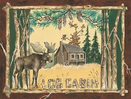 Feeling-at-home-Kunstdruck-Log-Cabin-Moose-cm60x81-Poster-fuer-Rahmen - Log Cabin Lodge Dekor
