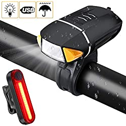 PiAEK Luz Bicicleta Luces Bicicleta Delantera y Trasera Conjunto Recargable USB Impermeable Luz Led Bicicleta Sensores Inteligentes Luz Nocturna per Bici de Carretera o Montaña Camping Nocturno