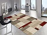 LORD KERNEL moderner Designer Teppich in beige-braun-rot, Größe: 140x200 cm
