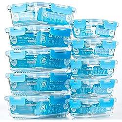 Lot de 10 boîtes de conservation alimentaire en verre avec couvercles hermétiques pour cuisine, usage domestique - récipients repas en verre - préparation des repas bleu