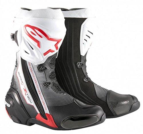 Alpinestars Supertech R Racing moto sportiva Track stivali nero/bianco/rosso 47
