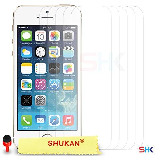 Apple iPhone 5 / 5S Très mince Clair [Protection Goutte] Résistant aux chocs [Electroplating Technology Métal] Gel doux TPU Pare-chocs Cas + Balle Stylo Toucher Style + ROUGE 2 IN 1 Bouchon anti-pouss Pack De 5