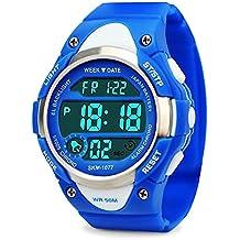 Los niños de los relojes digitales,niños deportes reloj con alarma al aire libre 50 m resistente al agua - electrónico muñeca relojes con luz LED para adolescentes Niños Azul por