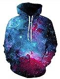 Leapparel Funy Langarm Sport Pullover Hoodie Sweatshirt für Herren und Damen Cool Grafik Design Kleidung Blau Space 2XL / 3XL