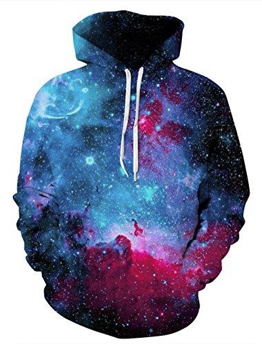 rm Sport Pullover Hoodie Sweatshirt für Herren und Damen Cool Grafik Design Kleidung Blau Space 2XL / 3XL (Dinosaurier Hoodie Für Erwachsene)