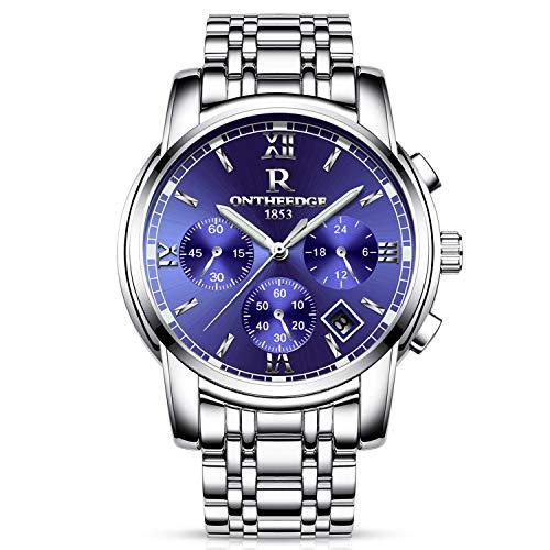 RORIOS Montres Bracelet Homme Quartz Analogique Chronographe en Date Acier Inoxydable Luxe Étanche Bleu Argent A
