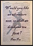 Peter Pan Quote Vintage Dictionary Wall Art Print Picture Drink Tea Adventure by Parksmoonprints
