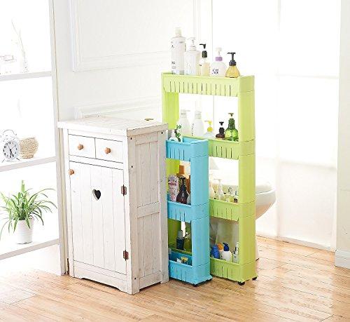 Gap Movable Lagerregal Die Küche Badezimmer Schlitz Kleine Platz Regal Organizer Mit Roller,White