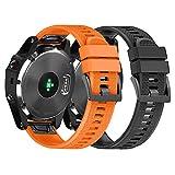 NotoCity Armband für Garmin Fenix 5X /Fenix 5X Plus/Fenix 6X /Fenix 6X Pro/Fenix 3 /Fenix 3 HR, 26mm Breite Silikon Quick-Fit Uhrenarmband für Garmin, Mehrfache Farben (Schwarz + Orange)