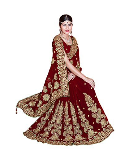 SOURBH Women's Faux Georgette Heavy Hand Work Embroidery Bridal/Wedding Wear Saree (2372_Maroon)