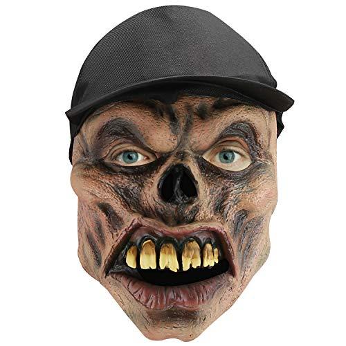 Hautton Grusel Clown Horror Maske Damen Herren Skullgesicht mit Hut für Erwachsene Fasching Karneval Halloween,Cosplay Horror Vollmaske, Latex Ganzgesicht Kostüm Outfit Zubehör Maske für Kostümparty