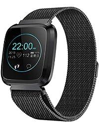 RanGuo Reloj Inteligente para Hombres Mujeres y niños, Deportes al Aire Libre Smart Watch para Sistema Android y iOS, Apoyo recordatorio de Llamada y recordatorio de Mensaje (Correa de Acero, Negro)
