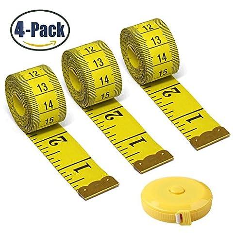 souple rétractable ruban à mesurer Mètre à ruban de poche pratique double face Tailor de ruban à mesurer 150cm 152,4cm 3 yellow