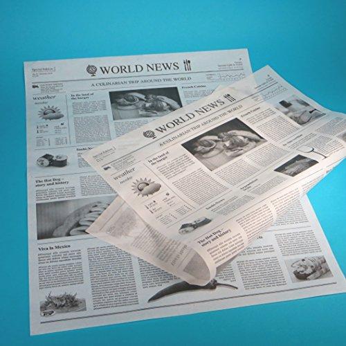 1000 Blatt Einschlagpapier Hamburgerpapier Sandwichpapier Frischhaltepapier Pergamentersatz fettdicht Zeitung / mit Zeitungsdruck 38,5x50cm XL