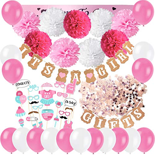 Dekoration, It's A Girl und Gifts Girlande Banner mit Seidenpapier Pom Poms, Neugeborene Fotorequisiten Masken, Mum to Be Schärpe, Konfetti und Luftballons ()