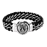 AMDXD Schmuck Herren Armband aus Top-Edelstahl Flechten Silber Schwarz Link Tier Kopf Panzerarmband Armbänder Länge 25.5CM