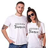 Couple Shirt pour Fiancée Fiancé Coton Amant Tees Shirts 2 Pcs Logo T-Shirt Impression Boyfreind Girlfriend Tops à Manches Courtes Anniversaire Cadeau Saint-Valentin(Blanc,Husband-M+Wife-S)