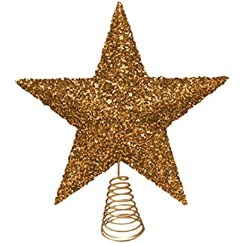 Toyland 27cm Beautiful Gold Sparkly Tinsel Tree Top Star Christmas Tree Topper