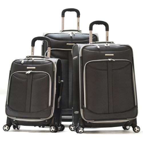 Olympia Tuscany Spinner Luggage (30 inch, Black, 3 Piece)