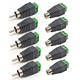 #9: AST Works 5 Pairs Speaker Wire Cable to Female + Male RCA Connector Adapter Jack Plug LED