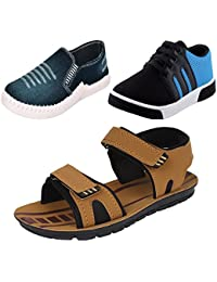 Earton Men Combo Pack Of 3 Loafer & Moccasins With Casual Shoes & Sandal