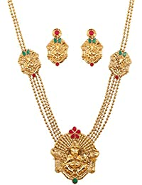 Touchstone Indian Bollywood Ethnic Temple Inspired Long Jewelry Necklace Set In Antique Gold Tone For Women