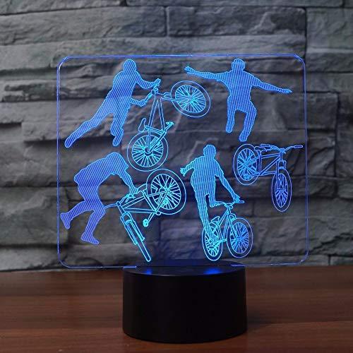 3D Bmx Fahrer Nachtlicht Led 7 Farben Ändern Fahrrad Limit Bewegung Tischlampe Schlaf Beleuchtung Schlafzimmer Nacht Dekor Kinder Geschenke