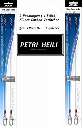 SET: 2 Packungen ( 4 Stück) Jenzi Fluoro - Carbon Vorfächer, Länge 30 cm (Tragkraft 6 kg) + gratis Petri Heil Aufkleber
