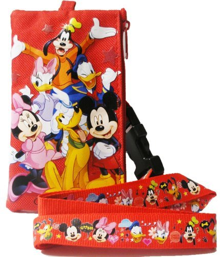 & Friends Long Red Lanyard w/ Zippered Pouch by Disney ()
