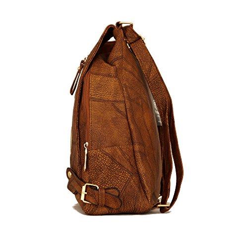 Damen Tasche Cityrucksack Mini Rucksack Schultertasche Umhangtasche Handtasche kleiner Rucksack Stadtrucksack Kunstleder Braun