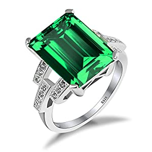 Jewelrypalace Women's 6.46ct Created Green Nano Emerald Ring Solid 925 Sterling Silver