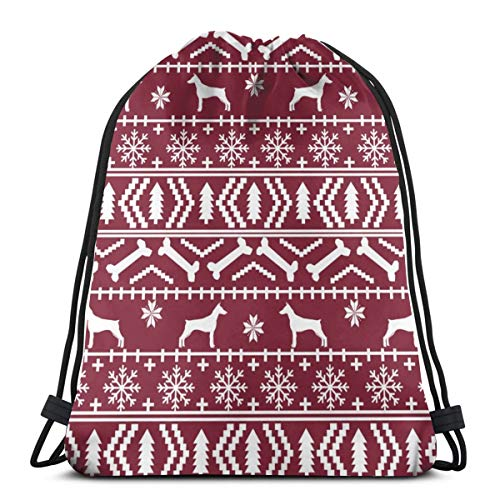 Doberman Pinscher Fair Isle Christmas Fabric Dog Silhouette Holiday Dogs Maroon 3D Print Drawstring Backpack Rucksack Shoulder Bags Gym Bag for Adult Child 16.9